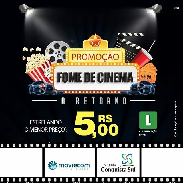 A Promoção Fome de Cinema continua! Aproveite e venha se aventurar nos melhores filmes do Moviecom Cinemas no Shopping Conquista Sul! Vem pra cá!