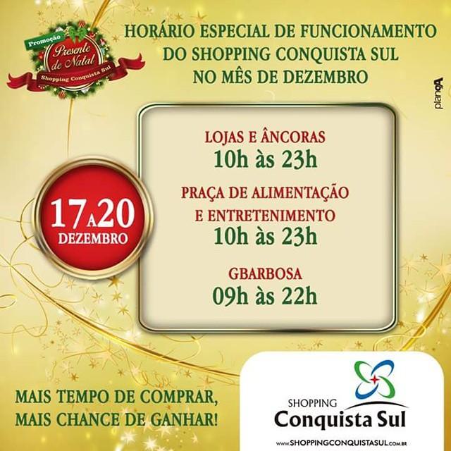 Confira o nosso horário de funcionamento entre os dias 17 e 20 de dezembro. #horario #natal #shoppingconquistasul