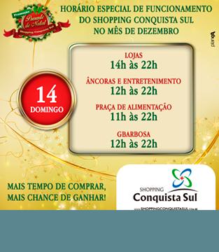 Horário Especial de Funcionamento no dia 14/12