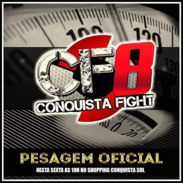 Hoje às 19h, no 1° Piso do Shopping Conquista Sul, acontece a pesagem oficial do Conquista Fight! Vem pra cá!  #conquistafight #shoppingconquistasul #vempracá