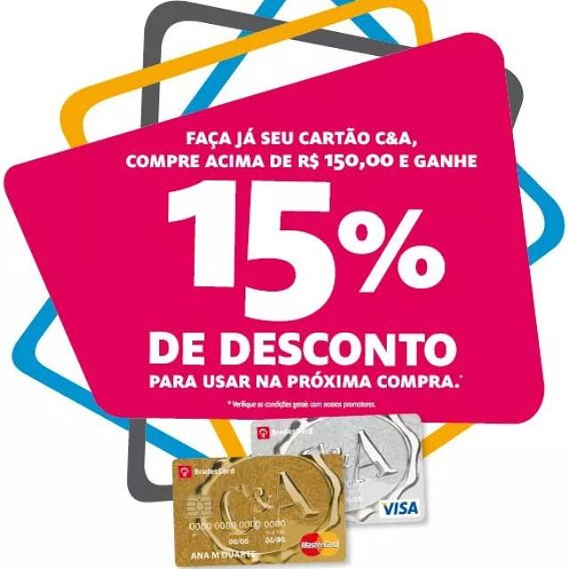 Faça já seu cartão C&A, compre acima de R$150,00 e ganhe 15% de desconto! Confira! #cea #desconto #shoppingconquistasul