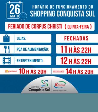 Horário de Funcionamento no dia de Corpus Christi