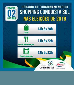 Horário de Funcionamento nas Eleições 2016