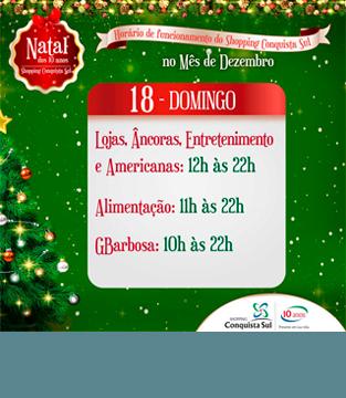 Horário 18 de Dezembro (domingo)