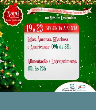 Horário dos dias 19 a 23 de Dezembro