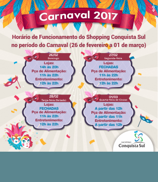 Horário de Funcionamento no período do Carnaval