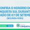 HORÁRIO DO FERIADO DO DIA 07 DE SETEMBRO